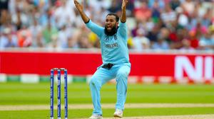 dil Rashid successfully appeals to the wicket of Marcus Stoinis during the ICC World Cup, Semi Final at Edgbaston, Birmingham.