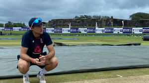 England captain Joe Root assesses the pitch in Galle (ECB)