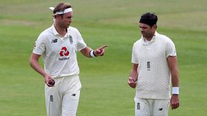 England's Stuart Broad, left, and James Anderson teamed up to devastating effect (Martin Rickett/PA)