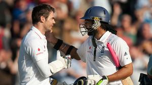 James Anderson, left, and Monty Panesar defied Australia in a famous last-wicket stand (Gareth Copley/PA)