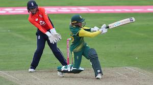 Mignon du Preez hit the winning runs as South Africa beat Engand at the ICC Women's T20 World Cup (David Davies/PA)