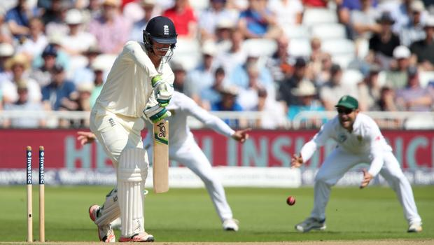 Keaton Jennings is bowled by South Africa's Vernon Philander at Trent Bridge