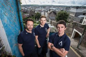 Road ready: Aqua Blue's Sporting director Tim Barry, Martyn Irvine and director of Athletic Performance Stephen Barrett