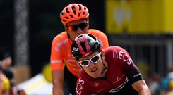 Pedal Power: Geraint Thomas crosses the finish line of the first stage