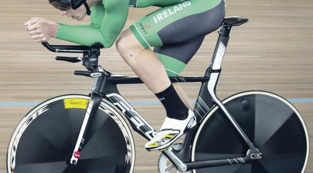 Leading by example: Newtownards' Martyn Irvine en route to clinching silver in the World Championship Scratch final in February