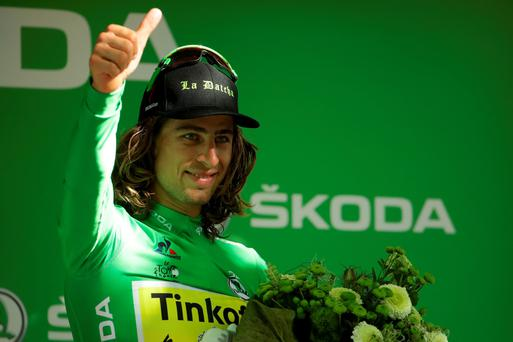 Edging it: Peter Sagan took stage 16 success by a matter of inches