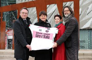 Gran gesture: Enterprise Minister Arlene Foster (second left) with Shadetree's Darach McQuaid (left), NITB's Susie McCullough, and Andrea Trabuio, RCS Sport Director, at yesterday's Titanic launch of Gran Fondo