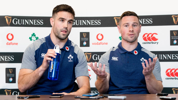 All good: Conor Murray and John Cooney talk to the media ahead of Saturday's Six Nations clash with Wales