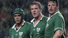 In command: Alan Quinlan, Paul O'Connell and Malcolm O'Kelly at the 2003 World Cup