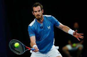 Return: Andy Murray on way to victory over Liam Broady at Roehampton last night