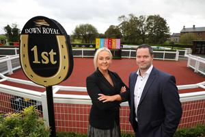 On course: Down Royal CEO Emma Meehan and Brendan Loughran, Head of Business Unit Ireland, SHS Drinks