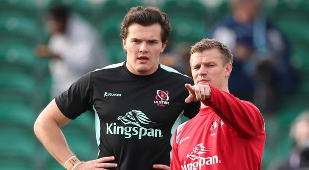 Making point: Jacob Stockdale listens to what Ulster coach Dwayne Peel has to say
