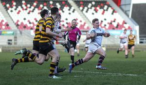 Going over: Royal School Armagh's James Allen races away to land his side's third try of the semi-final at Kingspan Stadium