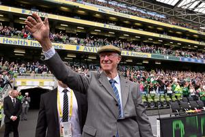 Hero's welcome: Jack Charlton is introduced to the crowd ahead of the match between Republic of Ireland and England at the Aviva Stadium in 2015