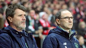 Republic of Ireland manager Martin O'Neill, right, and assistant Roy Keane (Niall Carson/PA)