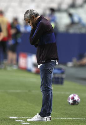 Quique Setien only took over as Barcelona boss in January (Rafael Marchante/AP).