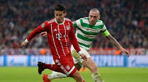 James Rodriguez, left, will miss Saturday's clash with Hertha Berlin