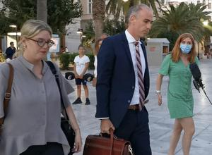 Harry Maguire's lawyer Alexis Anagnostakis leaves the court after Tuesday's verdict (Giorgos Solaris/AP)