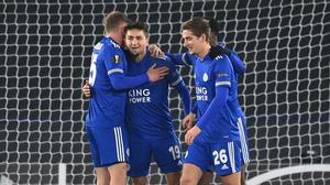 Leicester's Cengiz Under celebrates his opener against AEK Athens (Michael Regan/PA)