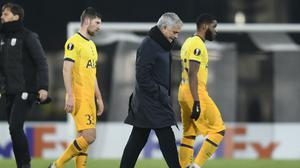 Jose Mourinho was unhappy with the motivation of his Tottenham players in the 3-3 draw against LASK in the Europa League (Andreas Schaad/AP/PA)