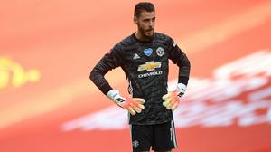 Manchester United goalkeeper David de Gea appears dejected during the FA Cup Semi-Final match at Wembley Stadium, London (Andy Rain/NMC Pool)