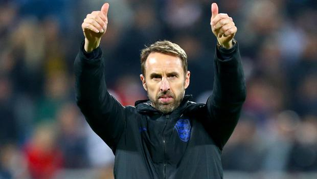 England Manager Gareth Southgate gives the thumbs up after the final whistle of the UEFA Euro 2020 Qualifying match at the Fadil Vokrri Stadium, Pristina (Steven Paston/PA)