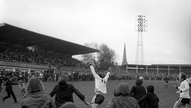 Ronnie Radford celebrates his stunning goal which set Hereford on the way to victory at Edgar Street in February 1972