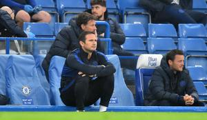 Frank Lampard watches on from the touchline during a Premier League win over Watford. (Glyn Kirk/NMC Pool)