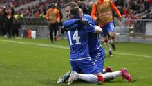 Ryan Kent (left) netted in the second half for Rangers (Luis Vieira/AP)