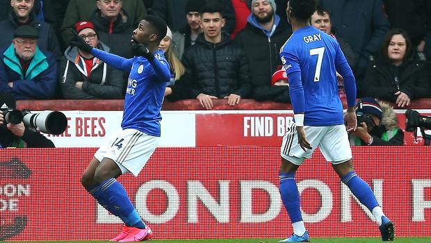 Kelechi Iheanacho (left) has scored seven goals in 12 appearances for Leicester this season (Nigel French/PA)