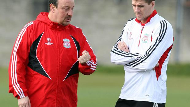 Steven Gerrard, right, was close to Rafael Benitez (Peter Byrne/PA)