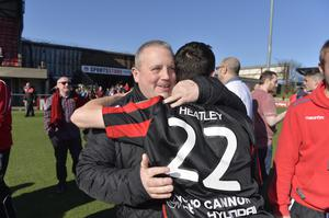 Presseye 18th April 2015 Danske bank Irish premier league match between Crusaders and Glentoran at Seaview Belfast. Crusaders Chairman Stephen Bell celebrates with Paul Heatley   Photograph: Stephen Hamilton/Presseye