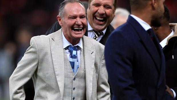Paul Gascoigne (left) was enjoying himself at Wembley (Mike Egerton/PA)