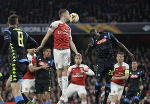 Napoli's Kalidou Koulibaly (right) was in Europa League action against Arsenal (Kirsty Wigglesworth/AP)