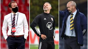 There were contrasting fortunes for Gareth Southgate, Ryan Giggs and Steve Clarke in the Nations League (PA)