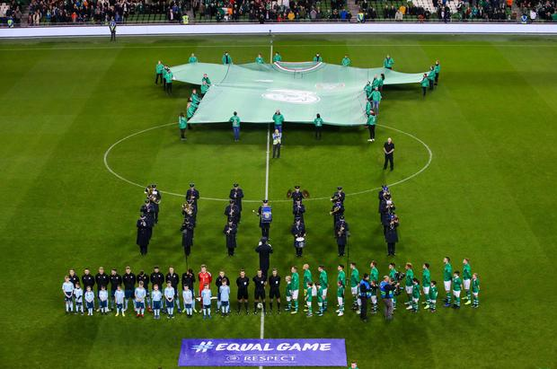 Split decision: Northern Ireland and the Republic of Ireland line up ahead of their November 2018 friendly clash
