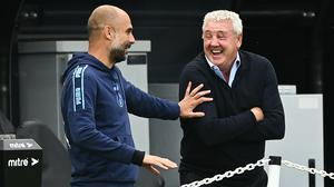 Manchester City manager Pep Guardiola (left) got the better of Newcastle counterpart Steve Bruce at St James' Park (Shaun Botterill/NMC Pool/PA)