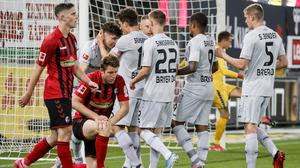 Kai Havertz, left in the background, was the match-winner for Leverkusen (Ronald Wittek/AP)