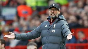 Liverpool manager Jurgen Klopp was not angry with his players after they lost their unbeaten Premier League record at Watford last weekend (Martin Rickett/PA).
