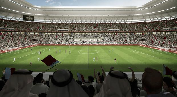 A computer generated image of how the Ras Abu Aboud Stadium could look when the 2022 World Cup kicks off in Qatar. (Supreme Committee for Delivery and Legacy/Handout/PA)