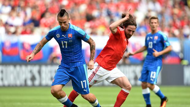 Slovakia's Marek Hamsik (left) is ready to do battle with Wales again in their 2020 European Championship qualifier (Joe Giddens/PA)