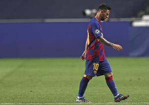 Lionel Messi leaves trudges off the pitch at half-time against Bayern Munich (Rafael Marchante/AP).