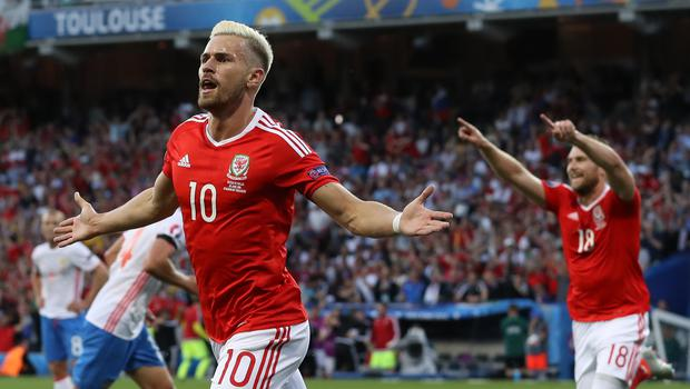 Aaron Ramsey celebrates scoring for Wales against Russia in a 3-0 win at Euro 2016 (Martin Rickett/PA)