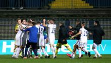 Northern Ireland players could celebrate after their shoot-out victory over Bosnia and Herzegovina (Nedim Grabovica/PA)