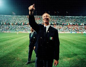 Fan favourite: Jack Charlton waves to the supporters after the Republic of Ireland's clash with Holland at the 1990 World Cup.