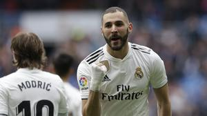 Real Madrid's Karim Benzema celebrates after scoring the opening goal against Athletic Bilbao (Bernat Armangue/AP/PA)