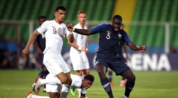 Dayot Upamecano, playing for France under-21s against England. The highly rated centre back is reportedly a target for Arsenal, Tottenham and Manchester City (Nick Potts/PA)