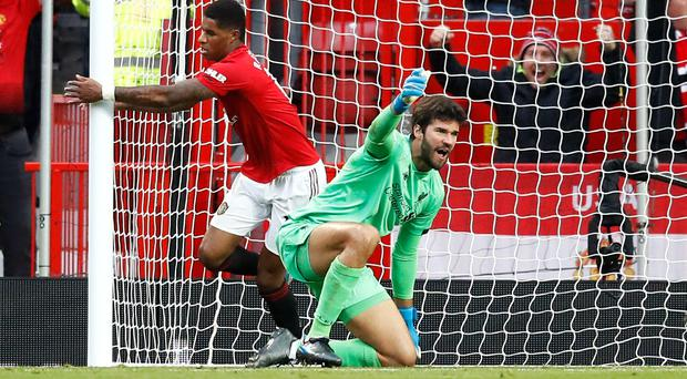 The goal from Marcus Rashford (left) on Sunday was allowed to stand after a VAR check (Martin Rickett/PA).