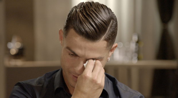 Cristiano Ronaldo got emotional when shown footage of his late father (ITV handout/PA)