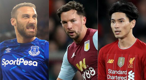 Cenk Tosun, Danny Drinkwater and Takumi Minamino have made moves this month (Simon Cooper/Nick Potts/Peter Byrne/PA)